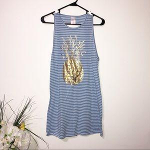 Xhilaration blue & white dress w/ gold pineapple